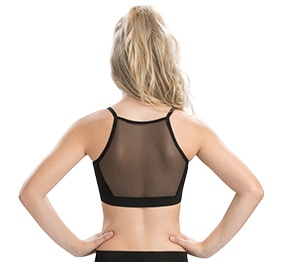 GK All Star Black Cheer Crop Top with Mesh Inset Back