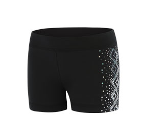 GK All Star Black Shorts with Silver Spanglez Side Pattern