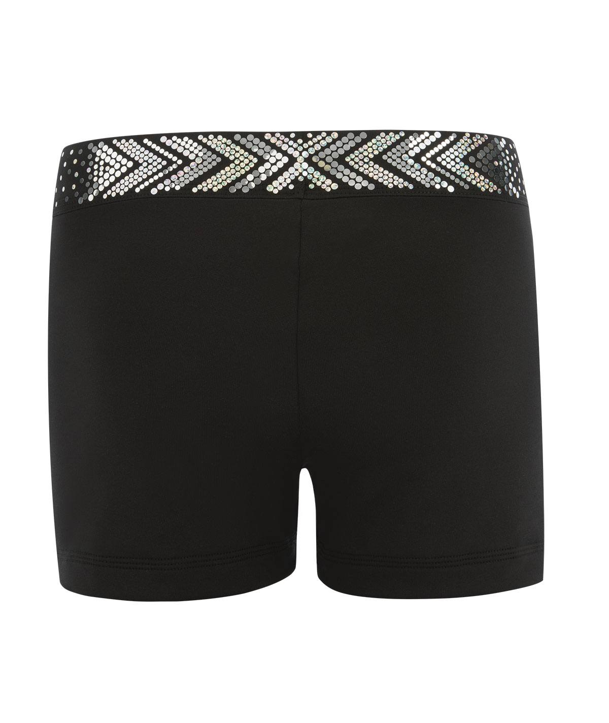 GK All Star Black Cheer Shorts with Silver Spanglez Waistband