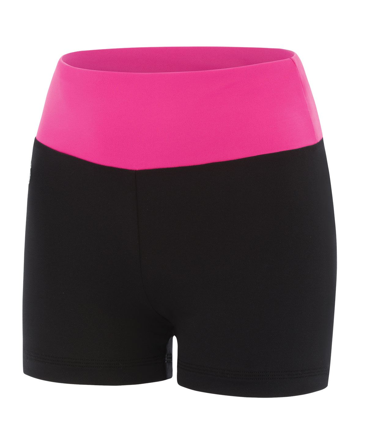 GK All Star Black High Waisted Cheer Shorts with Colorblock Waistband