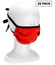 In-stock Fabric Pleated Face Mask with Ties - 25 Pack