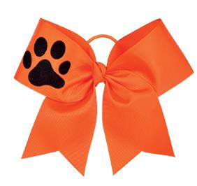 Performance hair bow with paw imprint