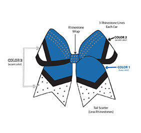 Sublimated Regal Custom Hair Bow with Rhinestones
