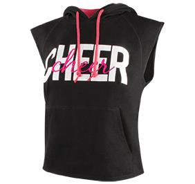 CHEER CROPPED SLEEVELESS HOODIE