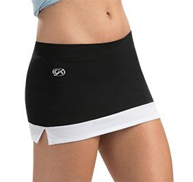 GK All Star Black Cheer Skirt with White Color Block Hem
